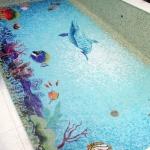 décor Sealife, mosaique de verre taillée