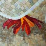 Mosaïque taillée Fleur beige irisé